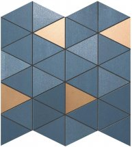 Atlas Concorde Mek Blue Mosaico Diamond Gold Wall 30.5x30.5