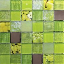 Elegans Mosaic Fruits Green 30x30