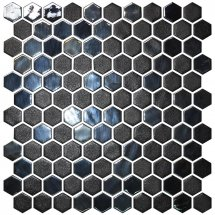 Onix Mosaico Hex Stoneglass Blends Opalo Black 30.1x29