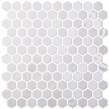 Onix Mosaico Hex Stoneglass Blends Opalo White 30.1x29