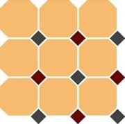 TopCer Octagon Ochre Yellow Black Brick-Red 30x30